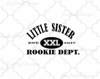 Little Sister Rookie Dept. SVG EPS DXf, Studio3 cut file set Printable Png Cricut Design Space Silhouette Studio Digital Cut Files, Sibling