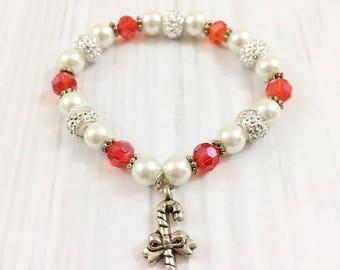 Toddler Christmas Bracelet | Baby Bracelet | Candy Cane Bracelet | Girls Bracelet | Christmas Gift