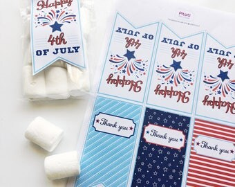4th of July favor tags, Printable 4th of July Thank you tags, July 4th printable favor bag tag, 4th of July thank you tag, Instant download