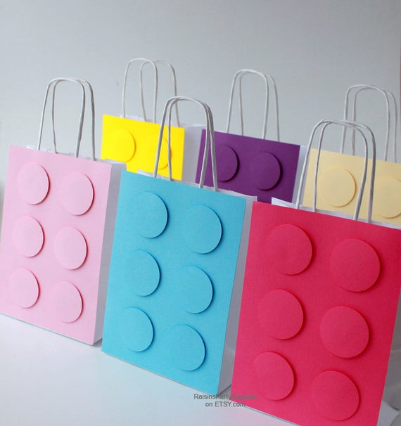 Lego girl decorations Girl lego birthday paper bags for gifts