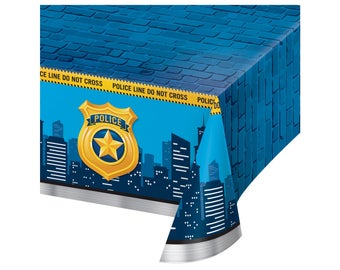 Police Tablecloth - Policeman Birthday - Police Baby Shower - Cop Party Supplies - Police Party Decorations - Sheriff Birthday - Spy Party