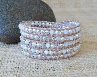 Blush Leather Wrap Bracelet/5 Wrap Bracelet/Crystal & Pearl Wrap Bracelet/Pastel Wrap Bracelet/June Birthstone/Bride's Bracelet/Gift for Her