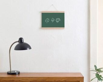 Set / the Green Panel poster + poster Strip oak A3