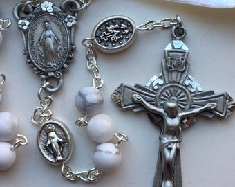 Handmade Gemstone Rosary, Pewter, White Howlite, Miraculous Medal Center and Beads, White Turquoise, White Buffalo Stone, SpiritRosary
