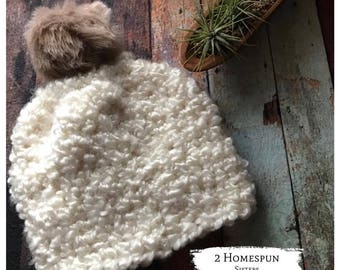Pom pom slouchy beanie, Winter hat for women, Faux fur pom pom hat, Slouchy beanie hat, Chunky crochet hat with texture and soft