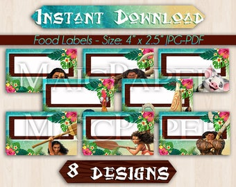 Food Tent Labels Moana - Instant Download - Blank