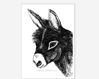 black and white  donkey print,Donkey painting, mule print, donkey print, donkey art, baby donkey painting