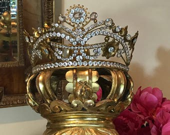 Antique French Jeweled Crown Tiara Dore Bronze Religious Santos