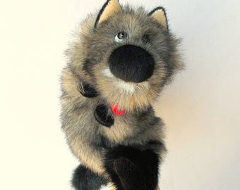 Wolf. Bibabo. Toy glove. Marionette. Puppet. Toy on hand. Puppet theatre.