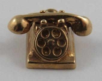 Rotary Dial Telephone 10K Gold Vintage Charm For Bracelet