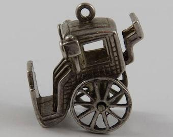 Brougham Carriage Mechanical Sterling Silver Vintage Charm For Bracelet