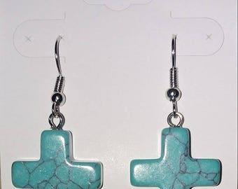 3-D Faux Turquoise Cross Earrings