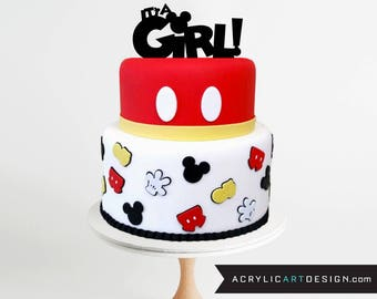 Itu0027s A Girl Cake Topper Mickey Mouse   Baby Shower, Mickey Ears, Mickey  Mouse