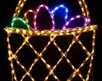 Easter Basket with Painted Easter Eggs Wireframe Outdoor Holiday Yard Decoration Commercial Quality