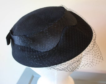 Fab Black Wool Hat, Satin Band, Veil, Ritz, Henry Pollak, New York, from Bamberger's New Jersey