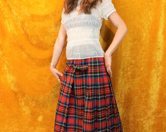Vintage Abercormbie & Fitch Florence Walsh Long Red and Blue Plaid Skirt / High Waist A-Line Floor Length Plaid Kilt Skirt with Pleated Back