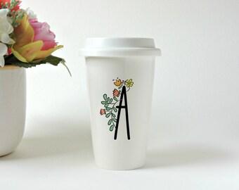 Monogram Mug * Personalized Mug * Gift for Her * Custom Mug * Travel Mug * Ceramic Tumbler * Coffee Mug * Tea Mug * Custom Travel Mug