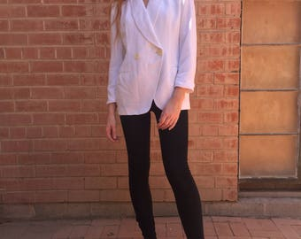 80s Christian Dior Double Breasted Ivory Blazer Jacket