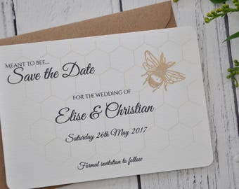Save The Date Cards, Meant To Bee, Wedding Save The Dates Cards, Meant To Bee Wedding Theme, Personalised Save Date, Shiny Copper Bee Stamp