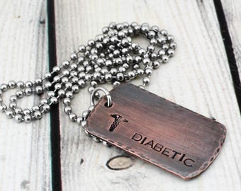 Hand Stamped Diabetes Alert Necklace - Custom Medical Alert Jewelry - Personalized Medical ID Necklace - Rustic Allergy Awareness Jewelry