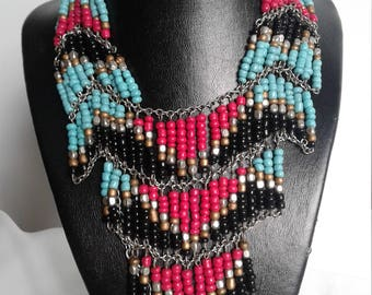 Bib Necklace, Tribal Necklace, Beaded Necklace, Bohemian Necklaces,Jewelry,Women Necklaces, Beads, Gifts for Her, Multistrand Necklaces