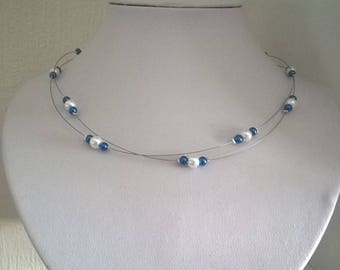 Bridal necklace evening holiday beads dark blue and white 2 row wedding ceremony
