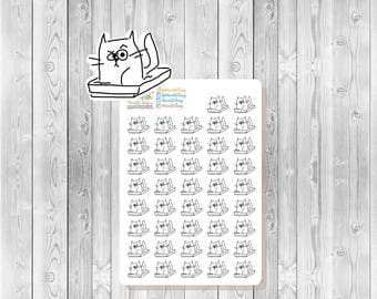S112 - 42 Cat Kitty Litter Box Reminder Planner Stickers