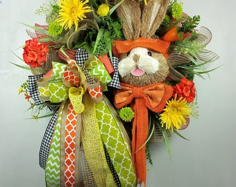 Easter bunny wreath, Easter wreath, Spring wreath, Deco mesh wreath, Easter decor, Burlap wreath, Orange and Yellow Easter wreath