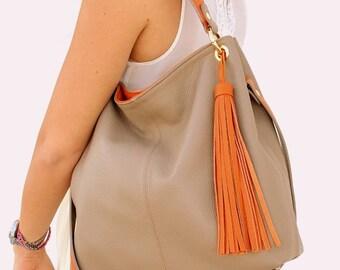 For her Leather calf. Italian style Beige Orange Cross Body Shoulder Bag, City Bag, Elegant bag. Gift for daughter birthday, lover. Ganza