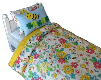 18 inch Doll Bedding 3 Piece Set ~ Bee And Flower