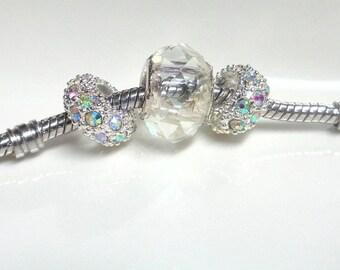 3 purple European charms - large hole beads