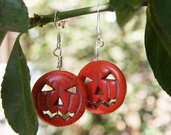 Jack O Lantern, Halloween Earrings, Pumpkin Earrings