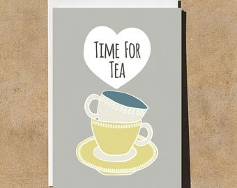 Time for Tea - Teacups - Illustrated & Hand-drawn Stationery - Made in UK - Greeting Card - Birthday Card - Note Card - Blank Card