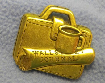 Wall Street Journal Goldtone Brooch Pin~ Briefcase & Rolled Paper