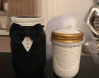 Bride and Groom Handpainted Mason Jars