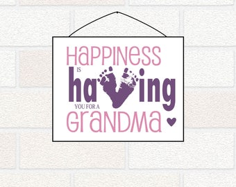 Printable New Grandma Gift from Baby Granddaughter, Grandson - Baby Footprints Happiness is Having you for a Grandma, Mother's Day grandma