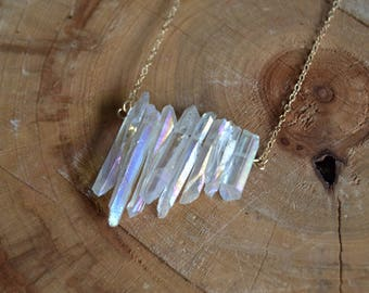 Asymmetrical Angel Aura Crystal Necklace // Gold Fill Chain // Crystal Energy // Peace & Serenity // Serenity Now // Connection to Angels