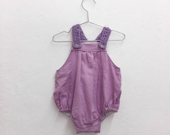 Woven straps lilac baby romper