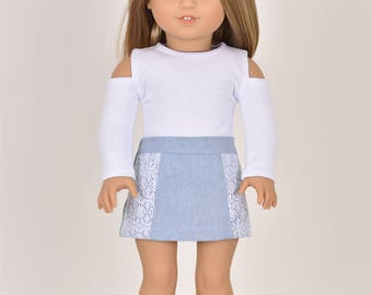 Lacey Denim Skirt 18 inch doll clothes Light wash Blue