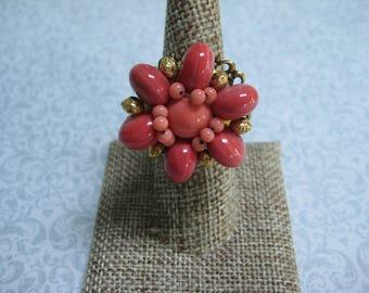 Upcycled Ring, Vintage Ring, Statement Ring, Upcycled Recycled, Repurposed Jewelry, Vintage Earring, Coral Pink-Red, Orange, OOAK /R29