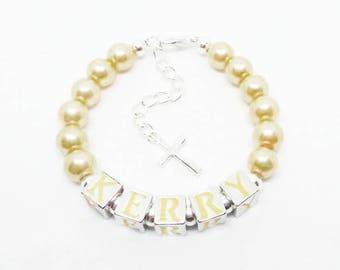 Keepsake Bracelet Confirmation Bracelet Girls Name Bracelet Baby Pearl Bracelet Baby Name Bracelet Christening Bracelet Baptism Bracelet