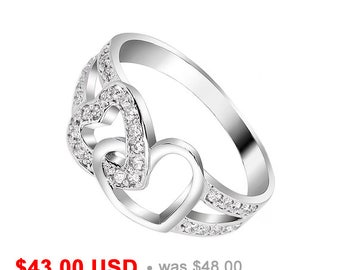 Heart Engagement Ring Heart Promise Ring for Her Heart Wedding Ring Mother Daughter Ring Sisters Ring CZ Friendship Ring Double Heart Ring