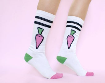 Bad Carrot Tube Socks! White Sport Socks!