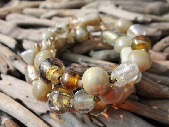 Glass Beaded Bracelet Iridescent AB Foil Foiled Hand Blown Art Ceramic Beads Bead Cuff Bangle Czech Memory Wire