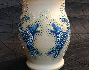 Dog vase, acd, heeler, blue heeler, blue, natural, stoneware, wheel thrown, aboriginal, wolf, dots, spiral, pottery