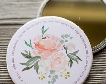 The Lord Goes Before You Inspirational Pocket Mirror, Deuteronomy 31 8 Floral Biblical Compact Mirror, Christian Gifts Under 10, 6-77