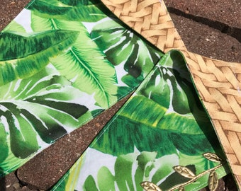 Tropical Leaf Print Pet Bandanna