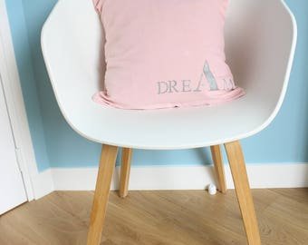 "Cushion cover in pink cotton ""DREAM"" - nursery decor - contemporary decor - girl size 40 x 40"