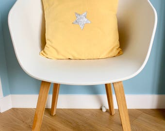 Silver Star - standard size - 40 X 40 - yellow Cushion cover