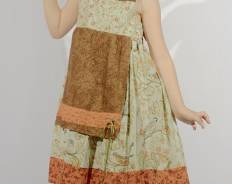 Green and Brown Child's Dress With Orange Straps